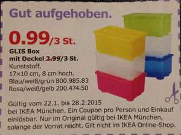 GLIS BOX 3 St. Für / 0,99 € @ Ikea