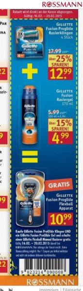 [Rossmann] 4 Gillette Proglide Klingen + 2in1 Rasiergel kaufen = 1 Rasierer gratis erhalten