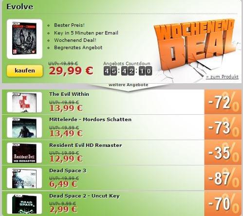 MMOGA Wochenend-Deals (Evolve und vieles mehr) von 29,99€ - 2,99€