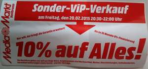[Media Markt Heilbronn] 10% auf Alles* am Freitag, 20.02.15 20:30-22:00 Uhr