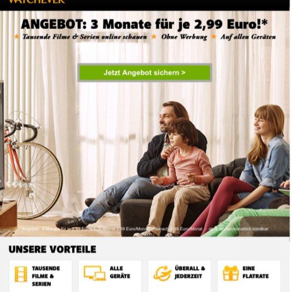 Watchever 3 Monate für 2,99 Euro