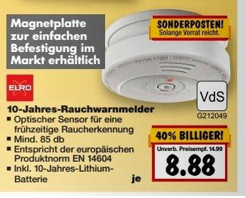 [Kaufland] ELRO GS506 VdS Rauchmelder mit 10 Jahres Lithium Batterie 8,88€