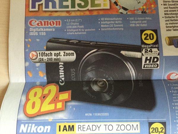 [EXPERT] (Lokal) Canon IXUS 155 Schwarz - 20 Megapixel und optischem 10-fach Zoom - schwarz! 82€