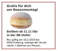 Ikea Freiburg - 1 Gratis Berliner am Rosenmontag ab 11:11