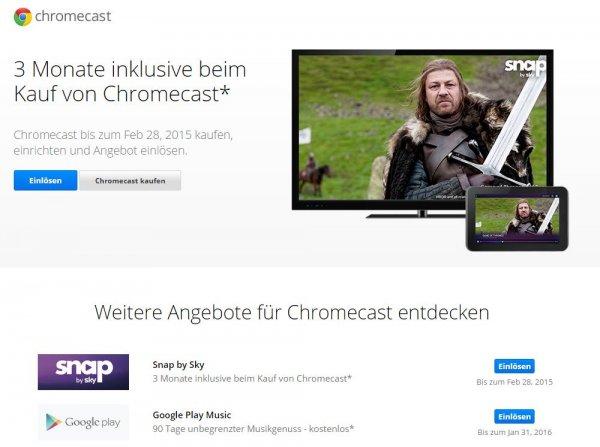 Google Play Music und Sky Snap - 90 Tage kostenlos für Chromecast Besitzer