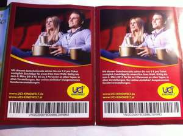 UCI Kinowelt Gutscheincode pro Ticket 5 € Zahlen zzgl. Zuschläge