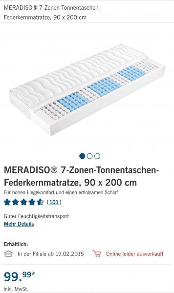 [Lidl, bundesweit?, nur offline] 7 Zonen Tonnentaschen-Federkernmatratze 90 x 200 cm ab dem 19.02. für 99,99 €
