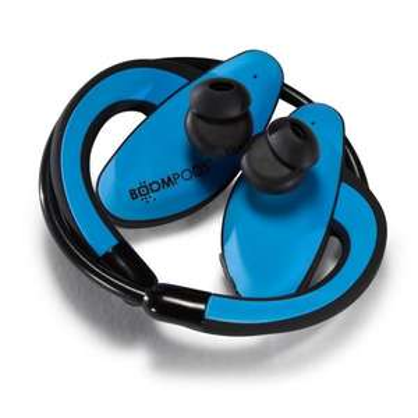Wasserdichter Bluetooth In-Ear-Sportkopfhörer - BOOMPODS Sportpods (schwarz/blau) @notebooksbilliger.de