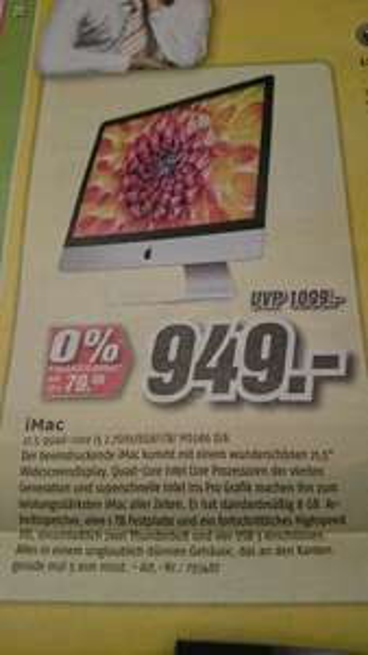 Apple iMac 21,5'' ME086D/A (21,5 Core i5 2,7 GHz 1TB 8GB Intel Iris) [lokal] MediMax Gera