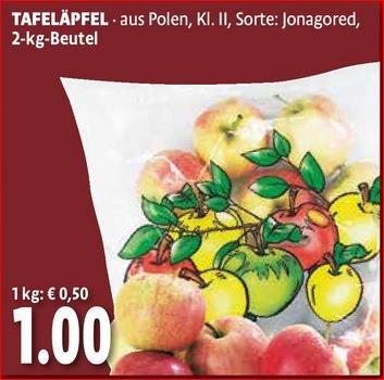 [Kaisers/Tengelmann Berlin & Bayern am 20/21.2]  2kg Tafeläpfel, Sorte: Jonagored, Kl.2 (0,50€/kg)