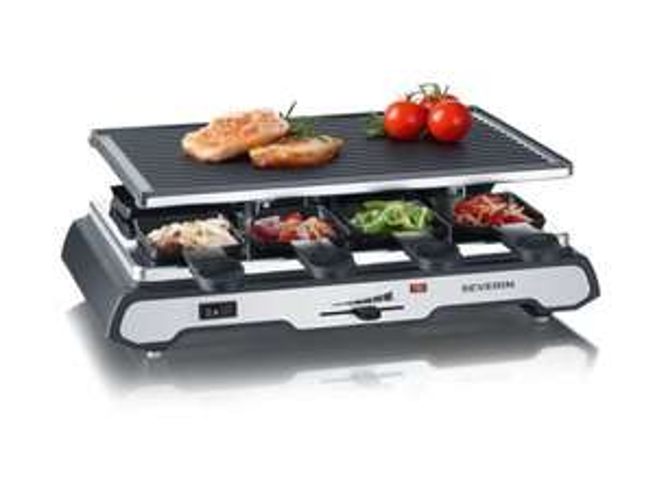 SEVERIN Raclette-Grill RG 2685 Praktischer Raclette-Grill mit antihaft-beschichteter Wendegrillplatte und 8 Pfännchen für 34,99€ zzgl. 4,95€ Versand @Lidl Online