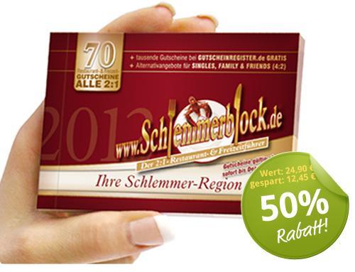 Schlemmerblock 2012: Ein Jahr zu zweit schlemmen für 13,41€ statt 24,90€