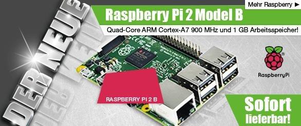 Raspberry Pi 2 Model B, 4x 900 MHz, 1 GB RAM