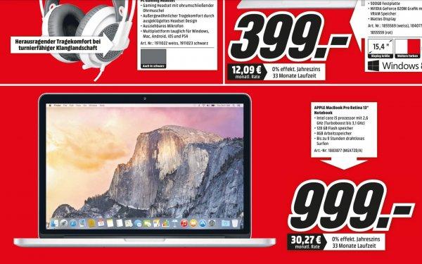 [Media Markt Düsseldorf] MacBook Pro Retina 13'' für 999€ und True Detective[BD] für 17€