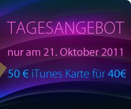 wieder mal: [MÜLLER-OFFLINE] 50 Euro iTunes Karte für 40 Euro - NUR AM 21.10.11 - 20 % Rabatt