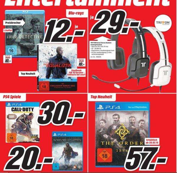 [LOKAL] Media Markt Berlin - PS 4: CoD: AW - 30 Euro, The Order 1886 - 57 Euro, True Detective BD Staffel 1 - 12 Euro und weitere Angebote