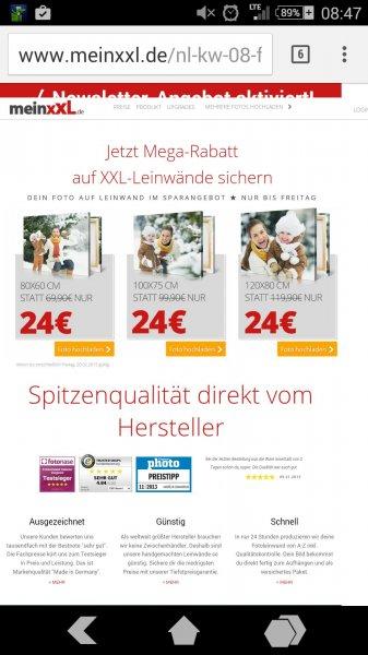 Meinxxl Bild in der Größe 120 cm x 80 cm für 30,90€