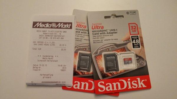 [Lokal MediaMarkt Weiterstadt] SanDisk Ultra microSDHC UHS-I 32GB für 11,- €