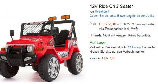 12V Ride On 2 Seater Kinderauto 2,00€ + 15,95€ Versandkosten