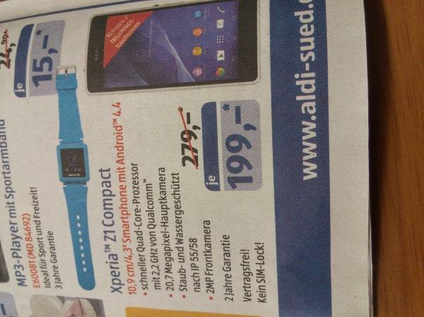 Sony Xperia Z1 Compact 199€ ALDI SÜD
