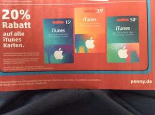 20% Rabatt auf alle iTunes Karten bei Penny 23.2.-28.2.2015