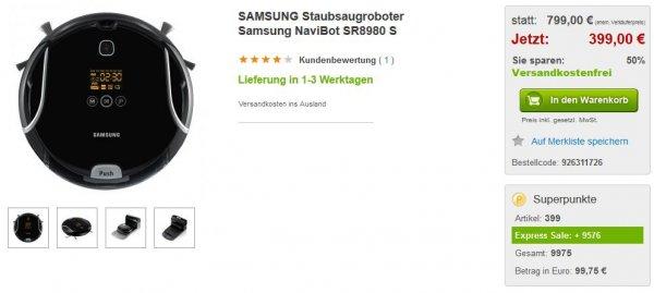 rakuten.de / Samsung Staubsaugerroboter SR-8980 und 99,25€ in Superpunkte