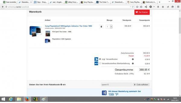 [online] nur noch heute 20.02.2015 Real Onlineshop Sony Playstation 4 (PS4)+ The Order 1886 388,95€ inklusive Versand, bei Marktabholung 384€