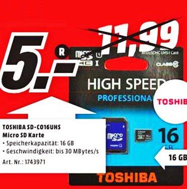 TOSHIBA 16 GB Micro SDHC CLASS 10 UHS I 30 MB/s microSDHC, UHS-1 + Adapter für 5€ [lokal Media-Markt Mülheim]