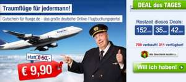 x0950€ Gutschein für fluege.de für nur 9,99€