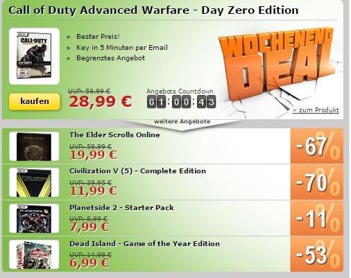 MMOGA-Wochenend-Deals - Call of Duty Advanced Warfare - Day Zero Edition [28,99] / The Elder Scrolls Online und vieles mehr ab
