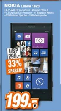 [Lokal Expert (Technikmarkt Gruppe) Rinteln,Nienburg,Springe und Schwerin] Nokia Lumia 1020 - Schwarz - 4G LTE - 32 GB - 41 Megapixel Kamera Windows Phone für 199,-€