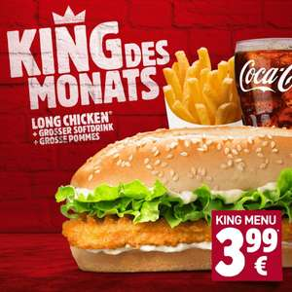 Long Chicken King Menü für 1,50€ bei Bürger King in 17 Filialen durch Opentabs App