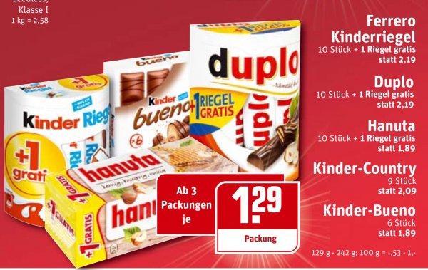 [Rewe] 3+ Packungen Duplo/Bueno/Kinderriegel/-Schokolade/-Country je 1.29€