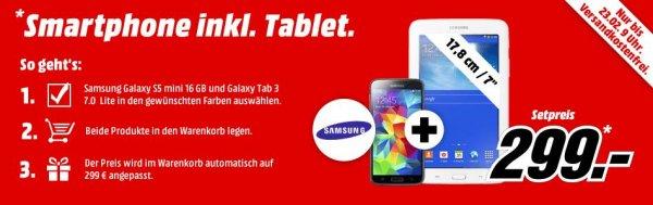 [Tiefpreisspätschicht MM] Samsung Galaxy S5 Mini + Galaxy Tab 3 7.0 Lite für 299,-€ VSK Frei