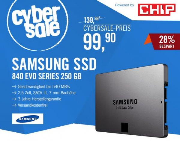 Samsung SSD 840 EVO Series 250GB 2.5zoll MLC SATA600 - Basic für 99,90€ @ cyberport