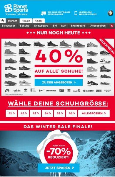 Planet Sports - 40% auf ausgewählte Schuhe und bis zu 70% auf Winterklamotten
