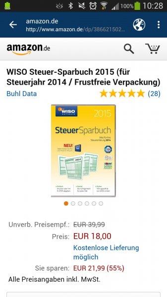 WISO Steuer-Sparbuch 2015 (für Steuerjahr 2014) für 18 Euro (Prime)