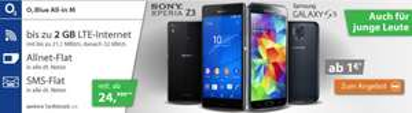 [logitel] Sony Xperia Z3 (black) oder Galaxy S5 (black) mit o2 Blue All-in M (auch Junge Leute möglich)