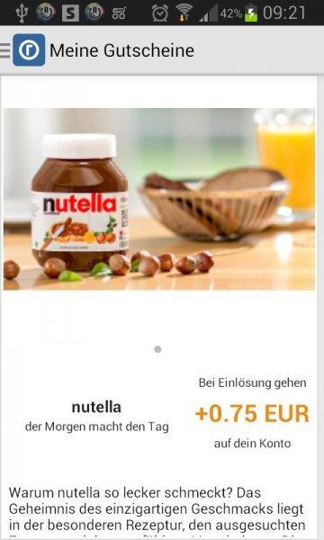 [Reebate] 0,75 EUR auf Nutella (alle Gläser-Größen) - bis 7.3.2015 (in der aktuellen Woche damit 1,77-0,75=1,02 EUR / 500 g bei Netto)