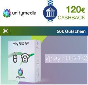 Qipu: Unitymedia – 2play PLUS 120 – 120€ Cashback + 60€ Online Vorteil + 50€ BestChoice Einkaufsgutschein