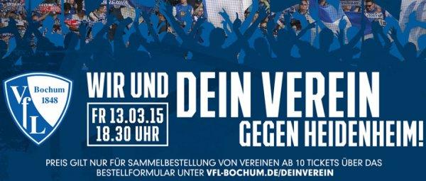 Rabattierte Eintrittskarten (10 EUR Sitz-/5 EUR Stehplatz zzgl. 4,50 EUR Porto) für Vereinsmannschaften VfL Bochum 1848 - 1. FC Heidenheim - 13. März 2015