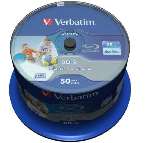 Verbatim Blu-ray BD-R SL Datalife 25GB 6x Inkjet Printable - 50 Pack