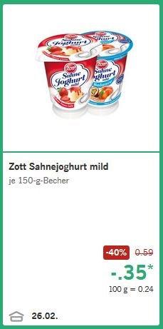 Lidl: Zott Sahnejoghurt mild für 0,35€ (- 40%)