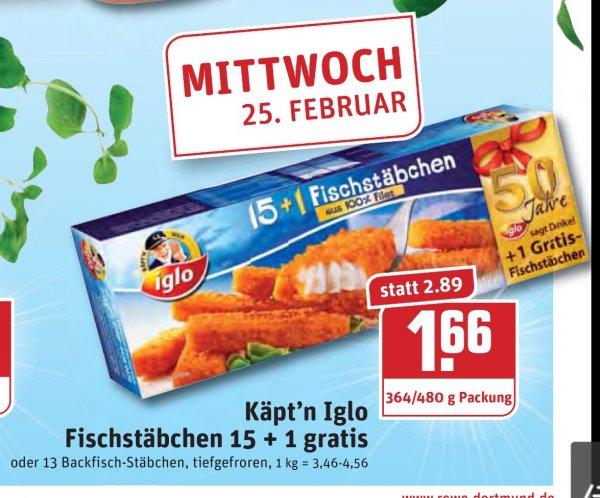 [Rewe Ruhrgebiet] Iglo Fischstäbchen 15+1 für 1,66€ nur heute + mehr