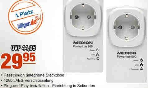 [plus.de]MEDION MD90215 Powerline Adapter Set 500MBit