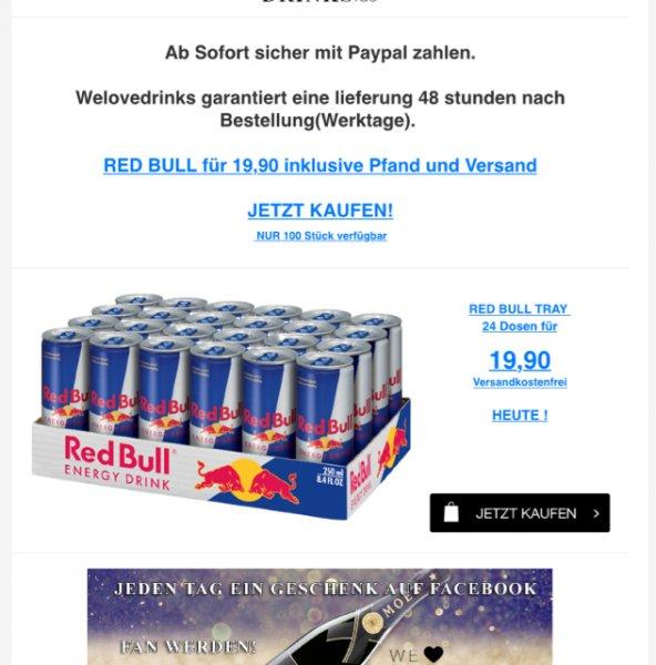 24xRedBull inkl Pfand und Versand - 19,99€ - Paypal möglich