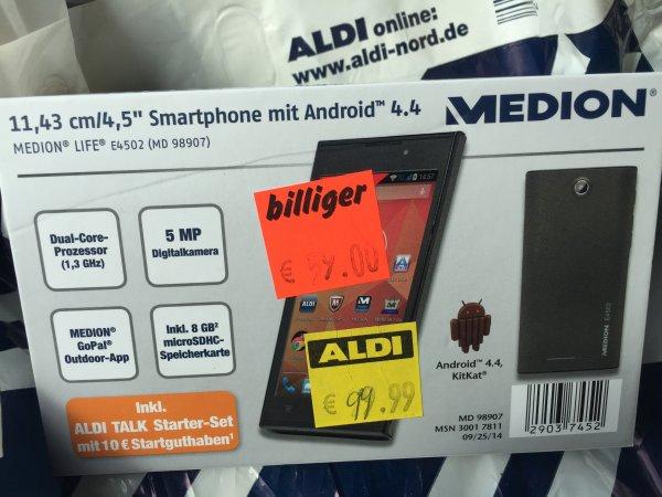 [Aldi essen Feilenstr3] Sonderverkauf MEDION E4502 Smartphone 59€incl. 10€Alditalk/Lifetab 88€ und andere....