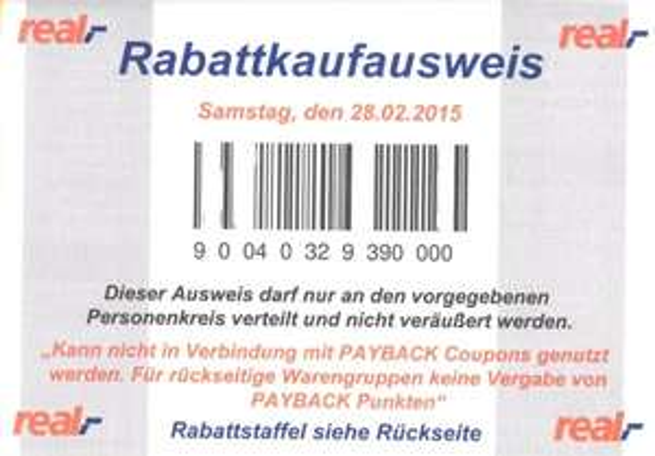 Bundesweit: Real Personalrabatt am 28.02.2015 Samsung TV UE48H5070 dadurch 359€