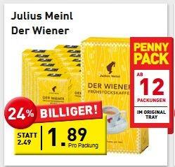 """Penny (AT) Julius Meinl """"Wiener"""" Kaffee Bohnen oder gemahlen - 3,78€  / kg"""