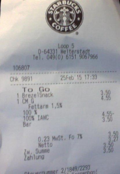 Starbucks Loop5 Weiterstadt: Kostenloses Getränk beim Kauf von Essen